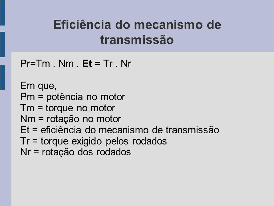 Eficiência do mecanismo de transmissão Pr=Tm. Nm. Et = Tr. Nr Em que, Pm = potência no motor Tm = torque no motor Nm = rotação no motor Et = eficiênci