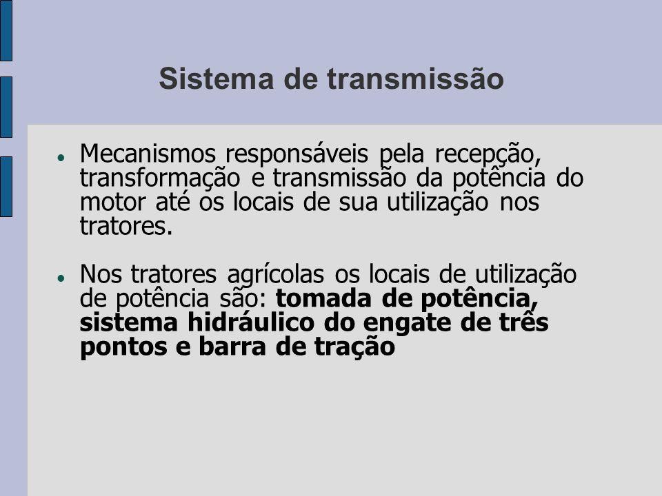 Sistema de transmissão Mecanismos responsáveis pela recepção, transformação e transmissão da potência do motor até os locais de sua utilização nos tra