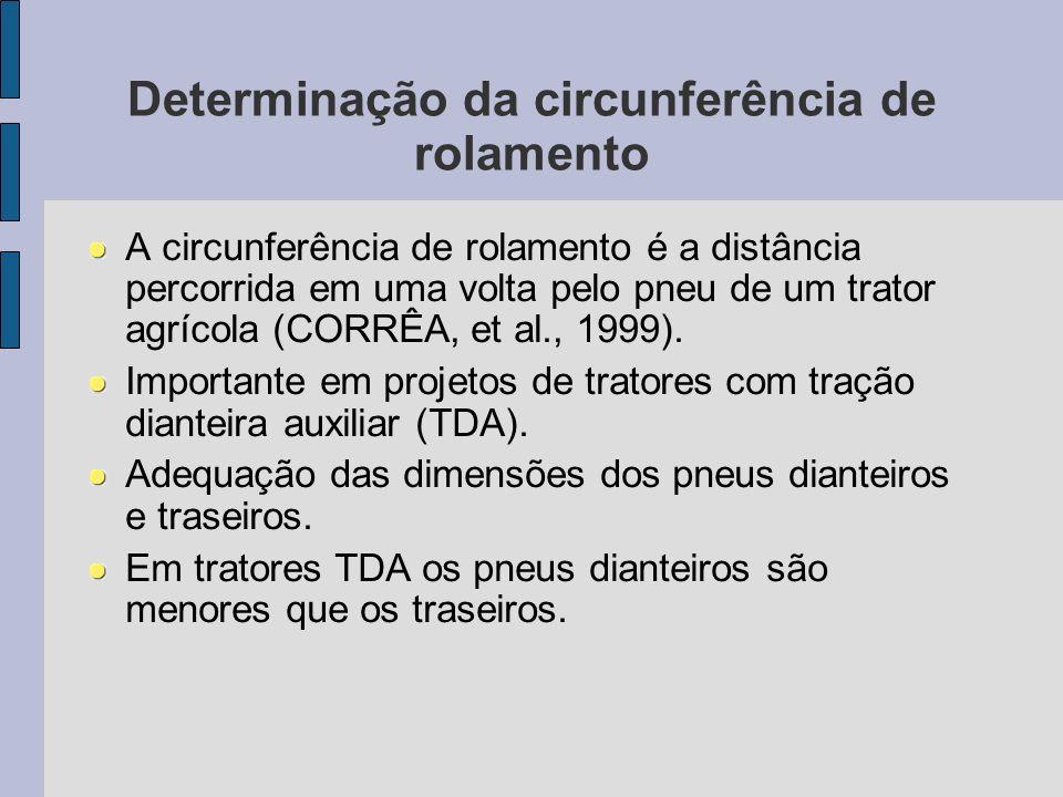 A circunferência de rolamento é a distância percorrida em uma volta pelo pneu de um trator agrícola (CORRÊA, et al., 1999). Importante em projetos de