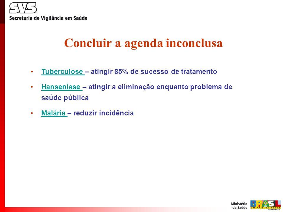 Concluir a agenda inconclusa Tuberculose – atingir 85% de sucesso de tratamentoTuberculose Hanseníase – atingir a eliminação enquanto problema de saúd
