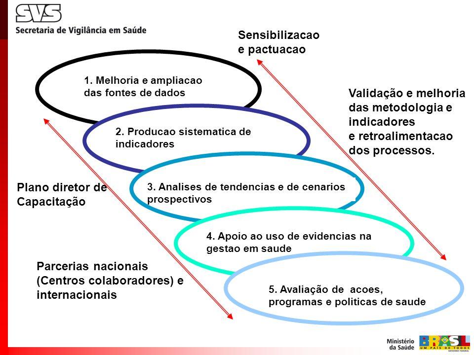 Parcerias nacionais (Centros colaboradores) e internacionais Sensibilizacao e pactuacao Plano diretor de Capacitação 3. Analises de tendencias e de ce