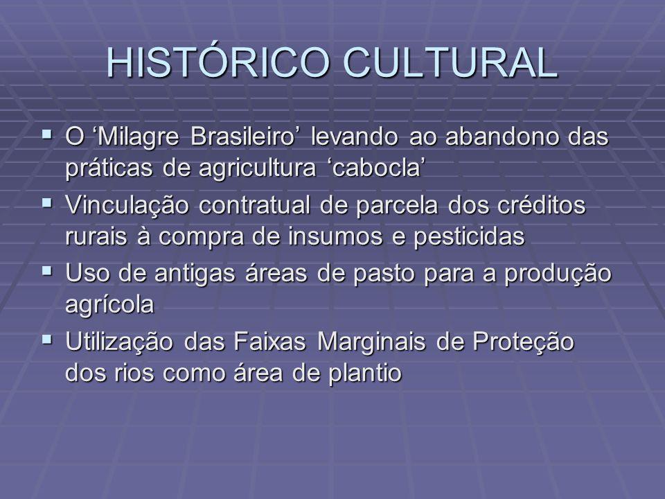 HISTÓRICO CULTURAL O Milagre Brasileiro levando ao abandono das práticas de agricultura cabocla O Milagre Brasileiro levando ao abandono das práticas