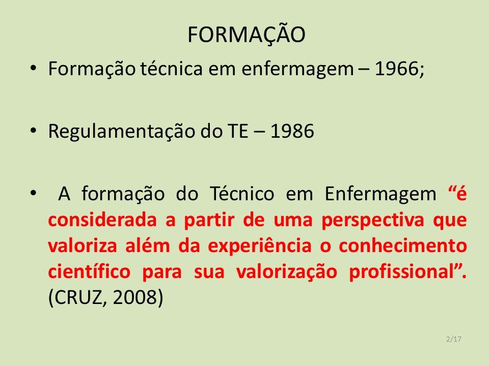 FORMAÇÃO 2/17 Formação técnica em enfermagem – 1966; Regulamentação do TE – 1986 A formação do Técnico em Enfermagem é considerada a partir de uma perspectiva que valoriza além da experiência o conhecimento científico para sua valorização profissional.