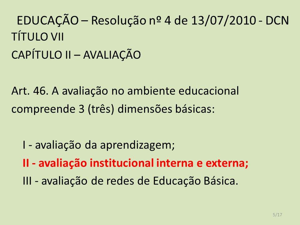 EDUCAÇÃO – Resolução nº 4 de 13/07/2010 - DCN TÍTULO VII CAPÍTULO II – AVALIAÇÃO Art.