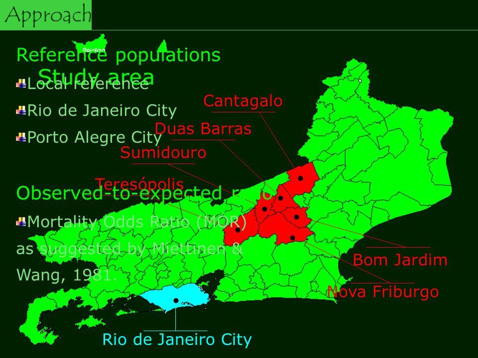 Nova Friburgo Rio de Janeiro City Teresópolis Sumidouro Duas Barras Cantagalo Bom Jardim Study area Reference populations Local reference Rio de Janeiro City Porto Alegre City Observed-to-expected ratio Mortality Odds Ratio (MOR) as suggested by Miettinen & Wang, 1981.