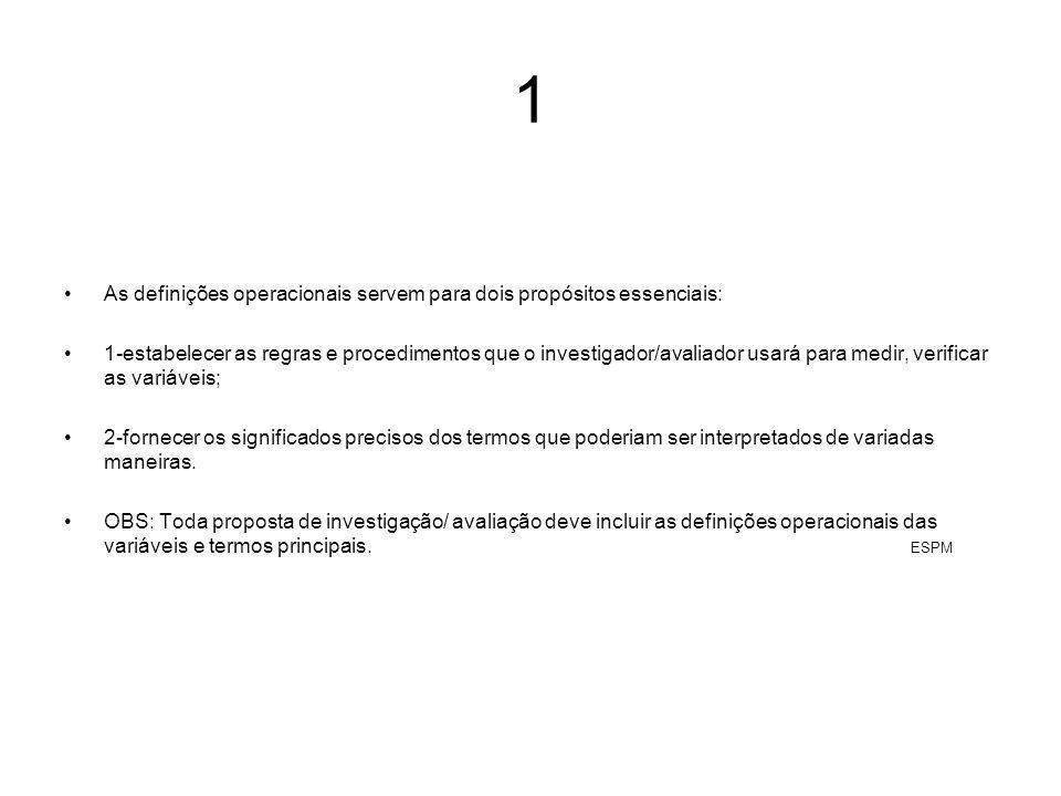1 As definições operacionais servem para dois propósitos essenciais: 1-estabelecer as regras e procedimentos que o investigador/avaliador usará para m