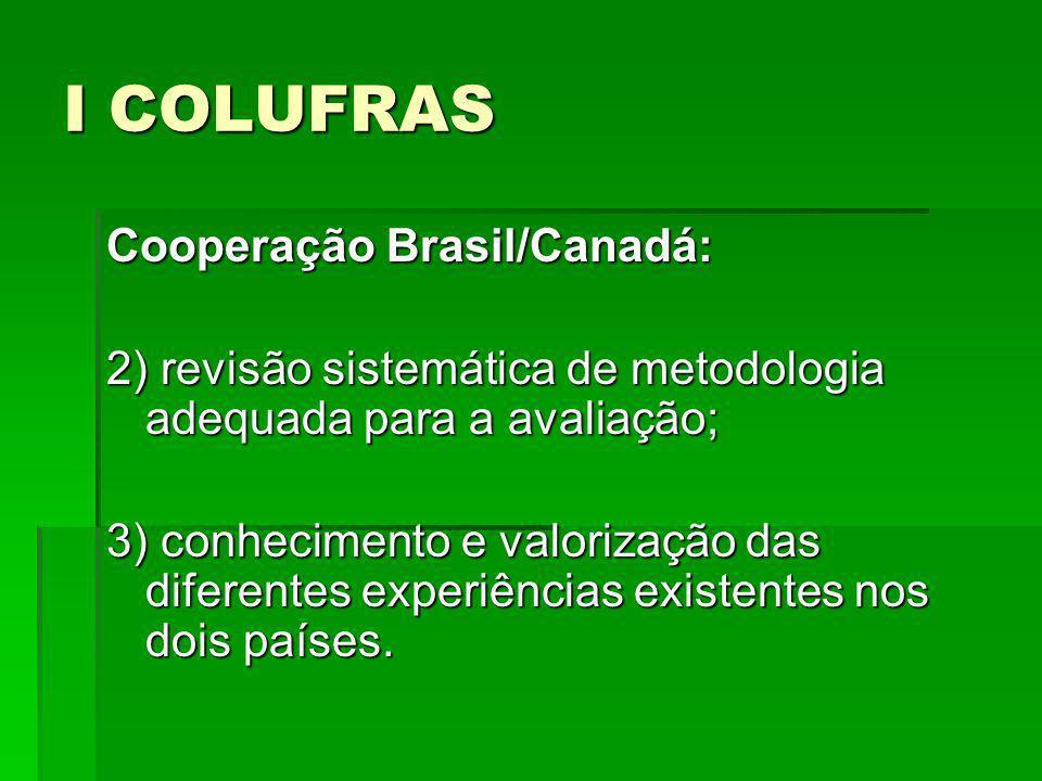 I COLUFRAS Cooperação Brasil/Canadá: 4) discussão de elenco mínimo comum de indicadores.