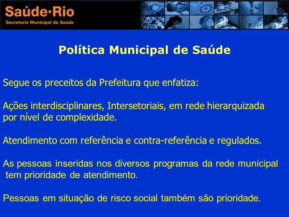 Política Municipal de Saúde Segue os preceitos da Prefeitura que enfatiza: Ações interdisciplinares, Intersetoriais, em rede hierarquizada por nível de complexidade.