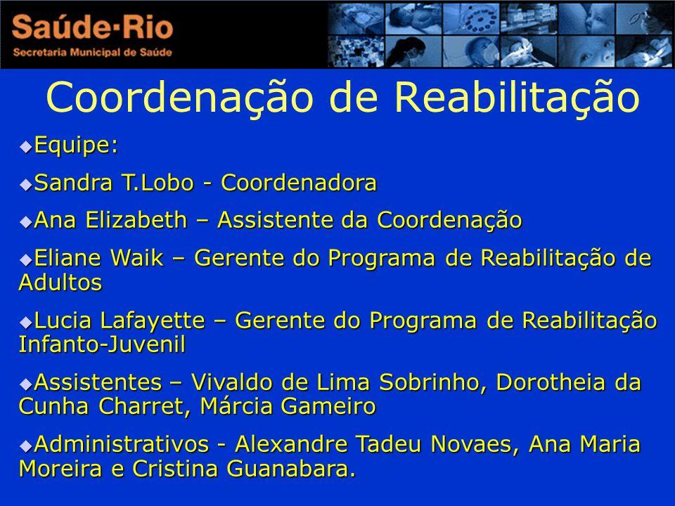 Coordenação de Reabilitação Equipe: Equipe: Sandra T.Lobo - Coordenadora Sandra T.Lobo - Coordenadora Ana Elizabeth – Assistente da Coordenação Ana El