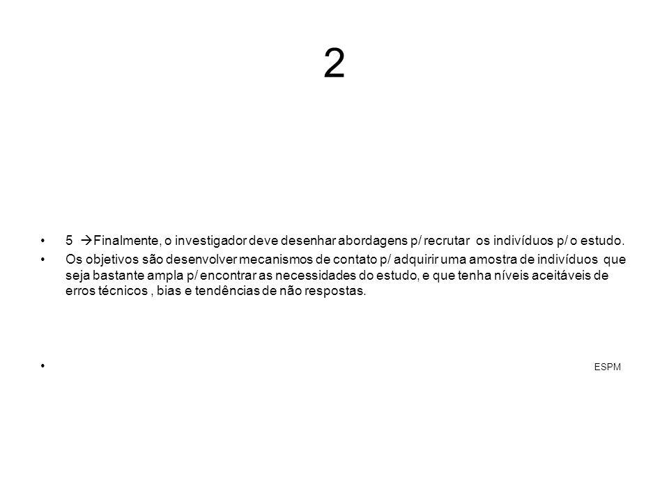 2 5 Finalmente, o investigador deve desenhar abordagens p/ recrutar os indivíduos p/ o estudo. Os objetivos são desenvolver mecanismos de contato p/ a
