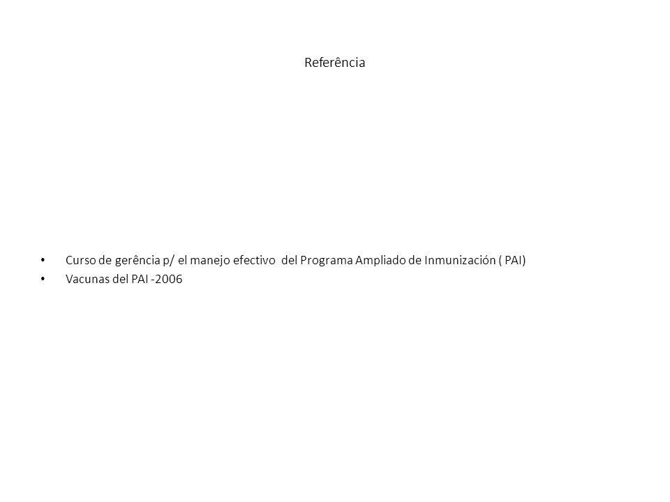 Referência Curso de gerência p/ el manejo efectivo del Programa Ampliado de Inmunización ( PAI) Vacunas del PAI -2006