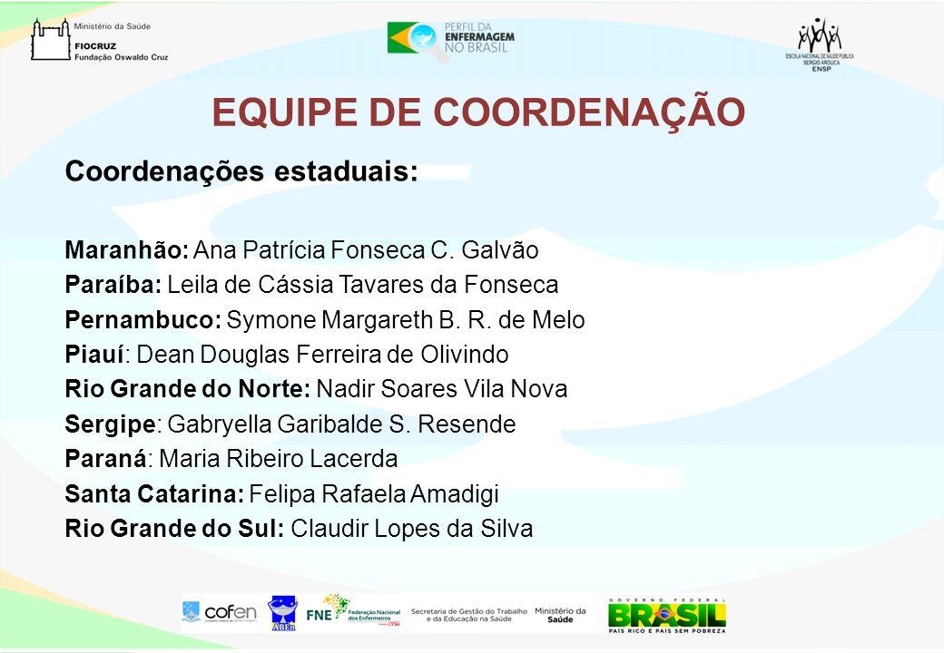 EQUIPE DE COORDENAÇÃO Coordenações estaduais: Maranhão: Ana Patrícia Fonseca C. Galvão Paraíba: Leila de Cássia Tavares da Fonseca Pernambuco: Symone