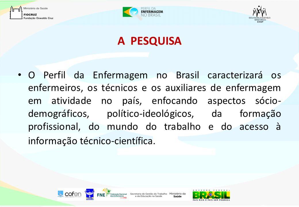 A PESQUISA O Perfil da Enfermagem no Brasil caracterizará os enfermeiros, os técnicos e os auxiliares de enfermagem em atividade no país, enfocando as