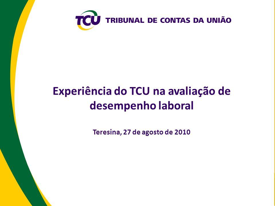 Experiência do TCU na avaliação de desempenho laboral Teresina, 27 de agosto de 2010