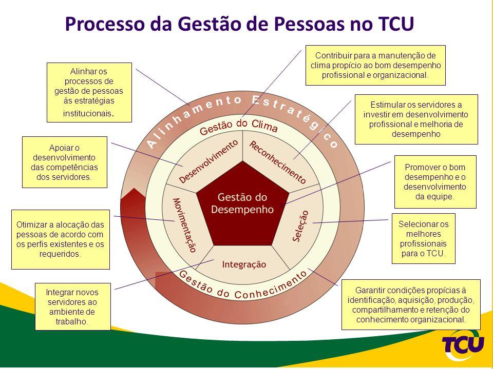 Processo da Gestão de Pessoas no TCU Selecionar os melhores profissionais para o TCU. Estimular os servidores a investir em desenvolvimento profission