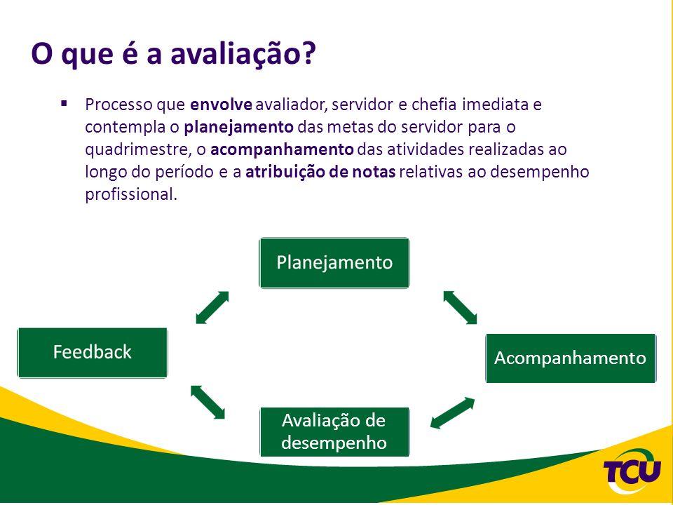 O que é a avaliação? Processo que envolve avaliador, servidor e chefia imediata e contempla o planejamento das metas do servidor para o quadrimestre,