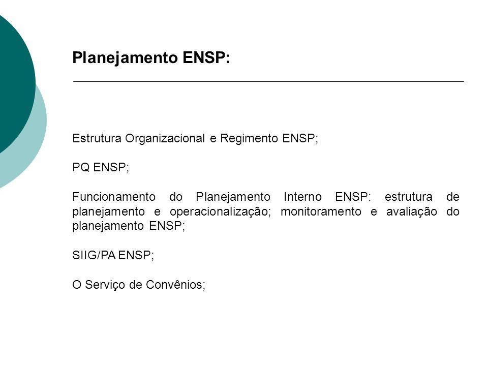 Planejamento ENSP: Estrutura Organizacional e Regimento ENSP; PQ ENSP; Funcionamento do Planejamento Interno ENSP: estrutura de planejamento e operaci