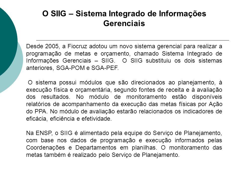 O SIIG – Sistema Integrado de Informações Gerenciais Desde 2005, a Fiocruz adotou um novo sistema gerencial para realizar a programação de metas e orç