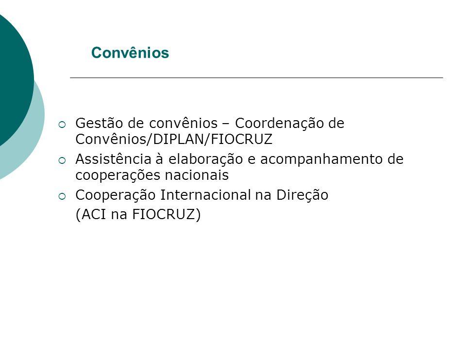 Convênios Gestão de convênios – Coordenação de Convênios/DIPLAN/FIOCRUZ Assistência à elaboração e acompanhamento de cooperações nacionais Cooperação