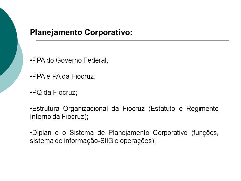 Planejamento Corporativo: PPA do Governo Federal; PPA e PA da Fiocruz; PQ da Fiocruz; Estrutura Organizacional da Fiocruz (Estatuto e Regimento Intern