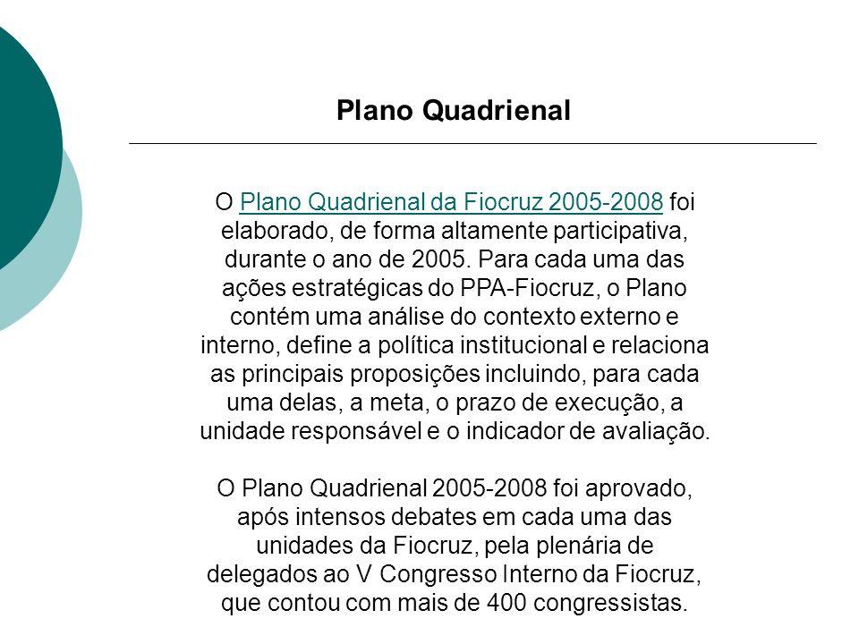 Plano Quadrienal O Plano Quadrienal da Fiocruz 2005-2008 foi elaborado, de forma altamente participativa, durante o ano de 2005. Para cada uma das açõ