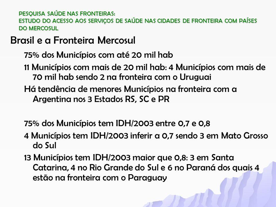 PESQUISA SAÚDE NAS FRONTEIRAS: ESTUDO DO ACESSO AOS SERVIÇOS DE SAÚDE NAS CIDADES DE FRONTEIRA COM PAÍSES DO MERCOSUL Brasil e a Fronteira Mercosul 75