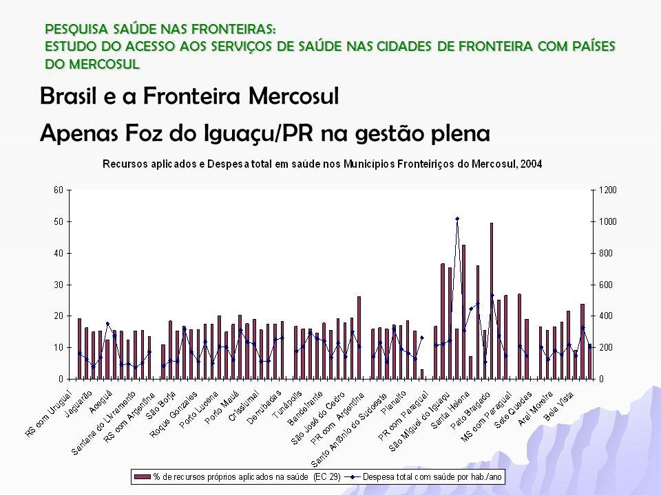 PESQUISA SAÚDE NAS FRONTEIRAS: ESTUDO DO ACESSO AOS SERVIÇOS DE SAÚDE NAS CIDADES DE FRONTEIRA COM PAÍSES DO MERCOSUL Brasil e a Fronteira Mercosul Ap