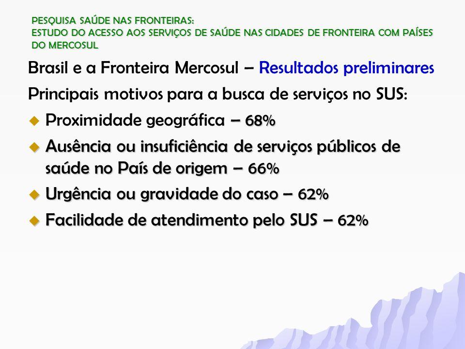 PESQUISA SAÚDE NAS FRONTEIRAS: ESTUDO DO ACESSO AOS SERVIÇOS DE SAÚDE NAS CIDADES DE FRONTEIRA COM PAÍSES DO MERCOSUL Brasil e a Fronteira Mercosul –