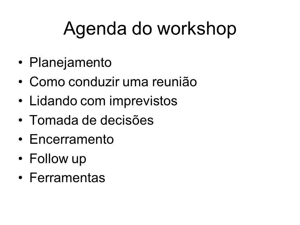 Agenda do workshop Planejamento Como conduzir uma reunião Lidando com imprevistos Tomada de decisões Encerramento Follow up Ferramentas