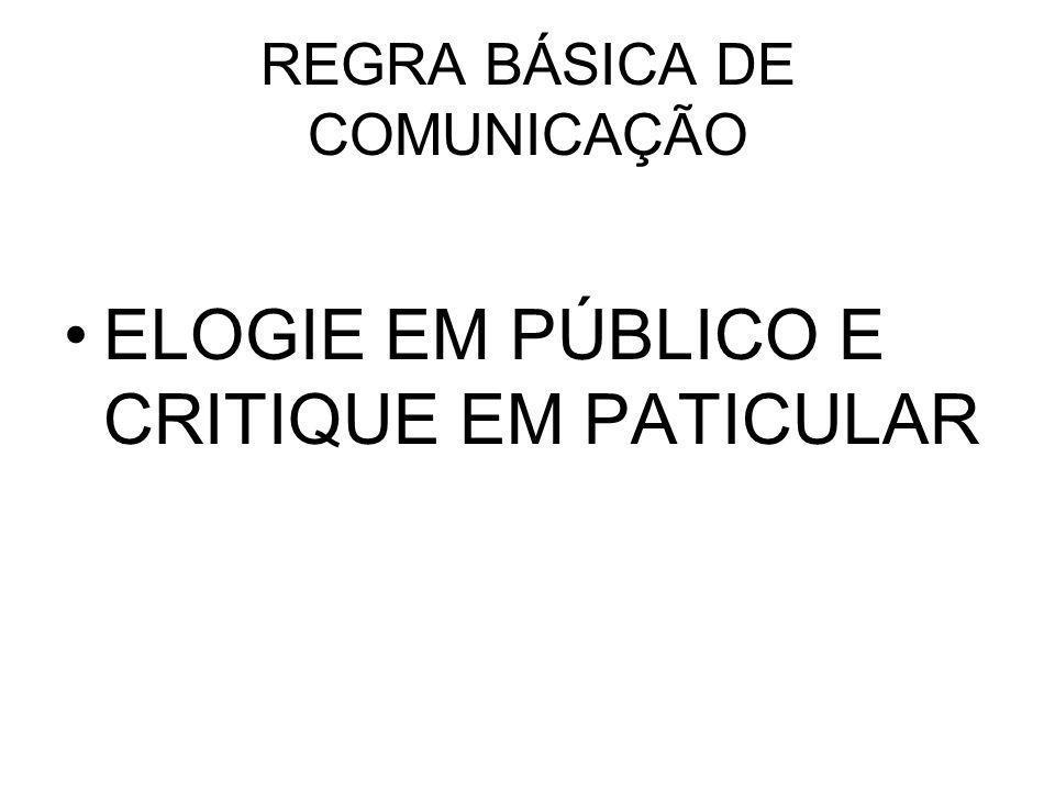 REGRA BÁSICA DE COMUNICAÇÃO ELOGIE EM PÚBLICO E CRITIQUE EM PATICULAR