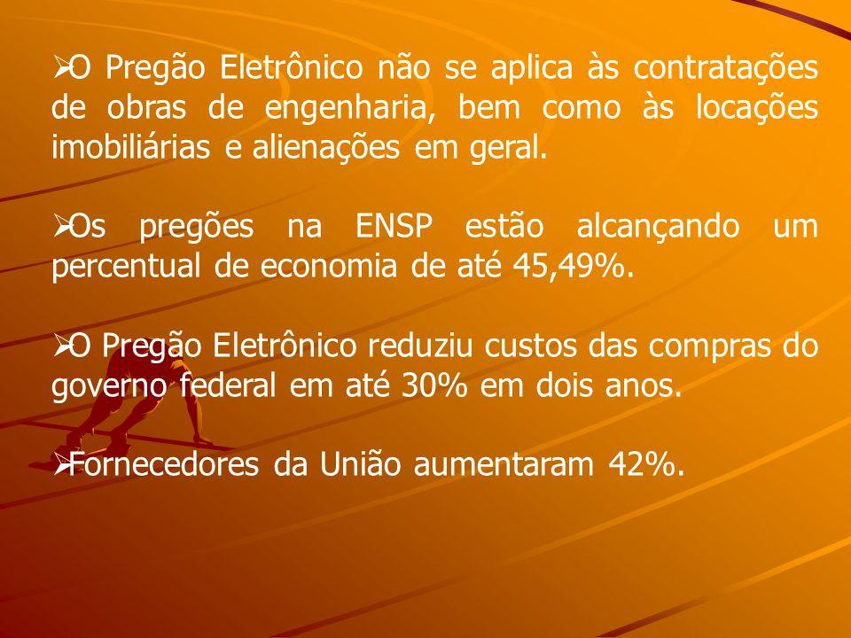 O Pregão Eletrônico não se aplica às contratações de obras de engenharia, bem como às locações imobiliárias e alienações em geral. Os pregões na ENSP