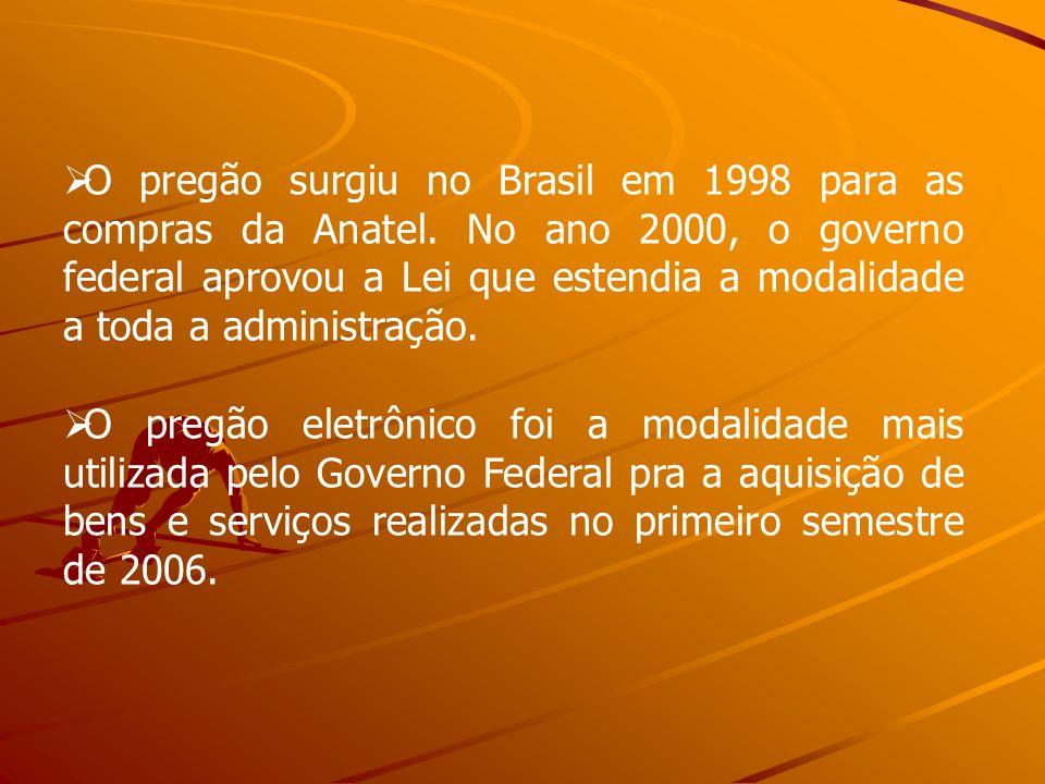 O pregão surgiu no Brasil em 1998 para as compras da Anatel. No ano 2000, o governo federal aprovou a Lei que estendia a modalidade a toda a administr