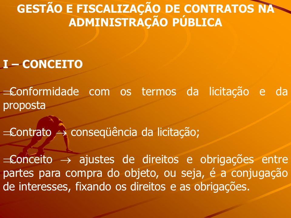GESTÃO E FISCALIZAÇÃO DE CONTRATOS NA ADMINISTRAÇÃO PÚBLICA I – CONCEITO Conformidade com os termos da licitação e da proposta Contrato conseqüência d