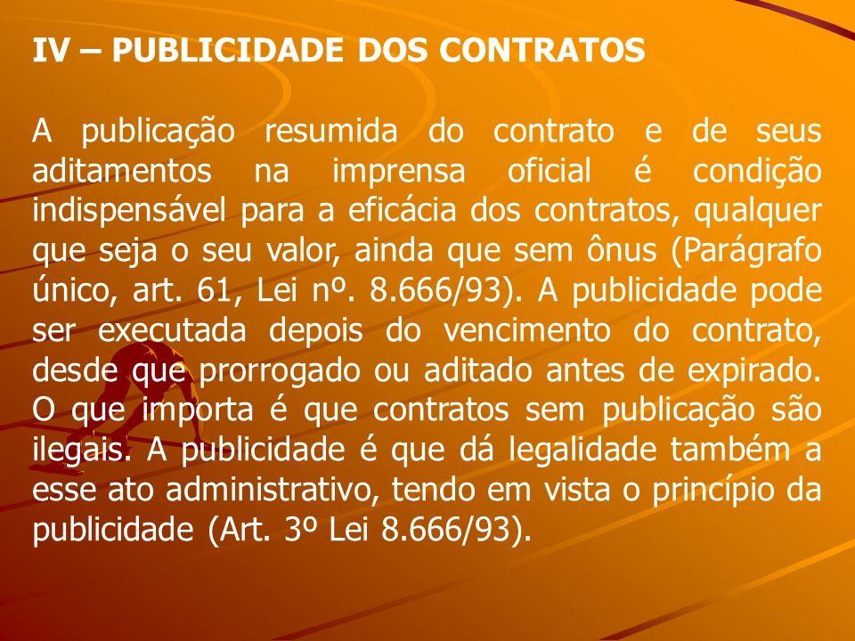 IV – PUBLICIDADE DOS CONTRATOS A publicação resumida do contrato e de seus aditamentos na imprensa oficial é condição indispensável para a eficácia do