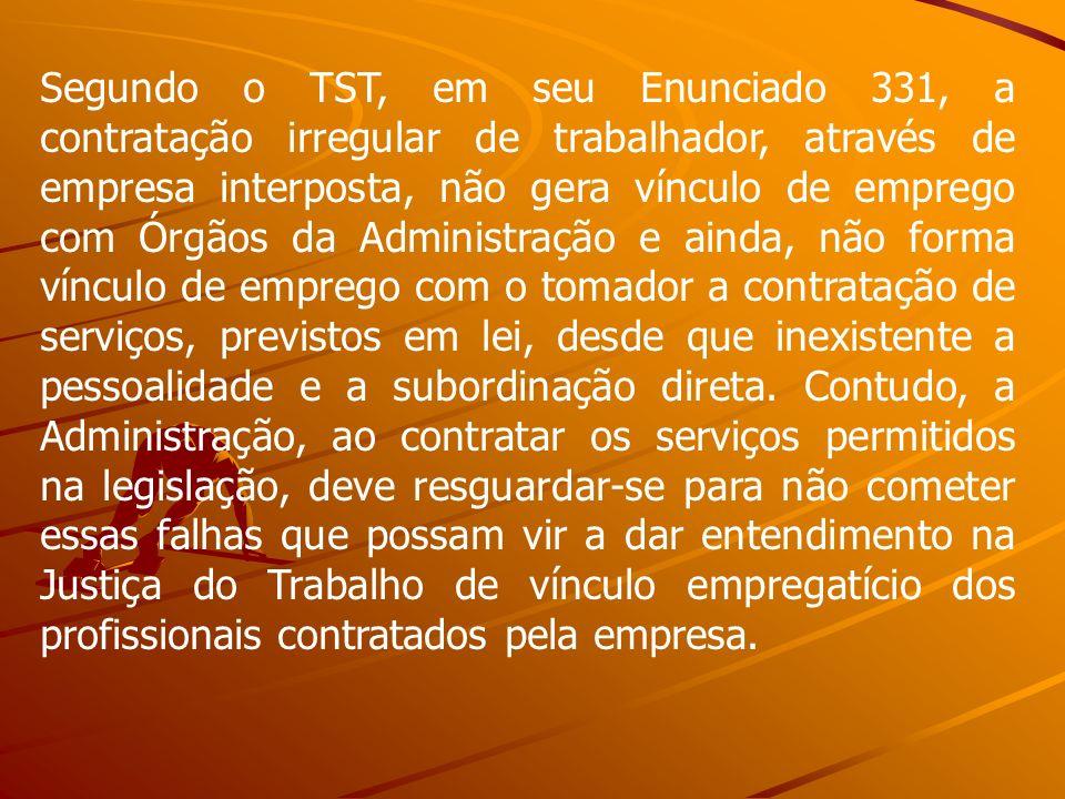 Segundo o TST, em seu Enunciado 331, a contratação irregular de trabalhador, através de empresa interposta, não gera vínculo de emprego com Órgãos da
