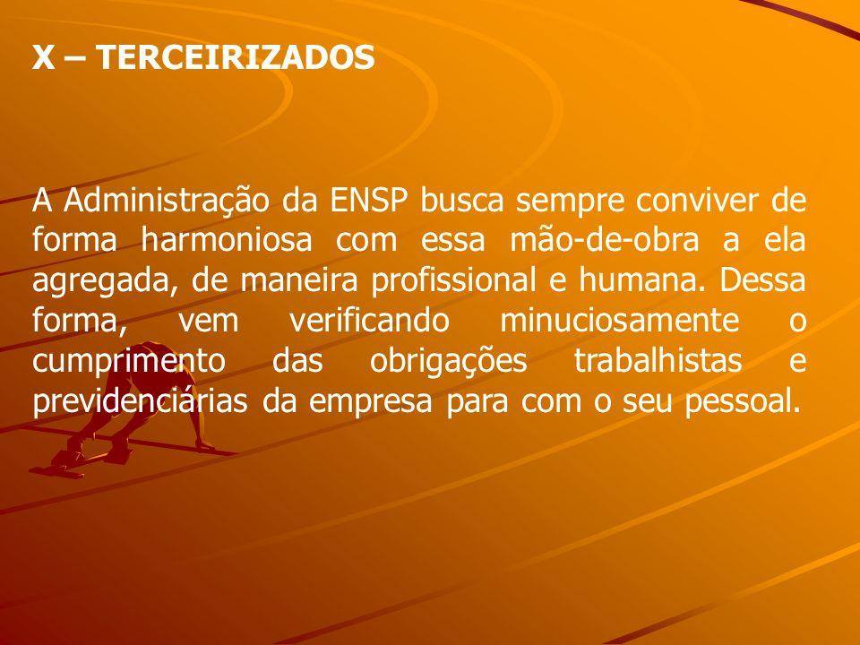 X – TERCEIRIZADOS A Administração da ENSP busca sempre conviver de forma harmoniosa com essa mão-de-obra a ela agregada, de maneira profissional e hum