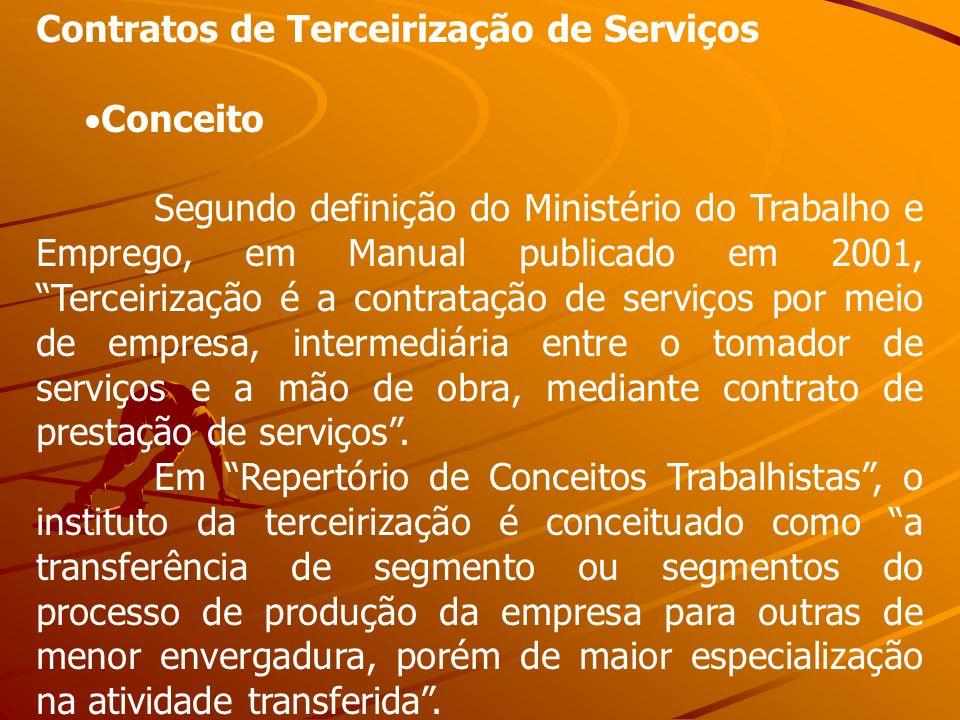 Contratos de Terceirização de Serviços Conceito Segundo definição do Ministério do Trabalho e Emprego, em Manual publicado em 2001, Terceirização é a