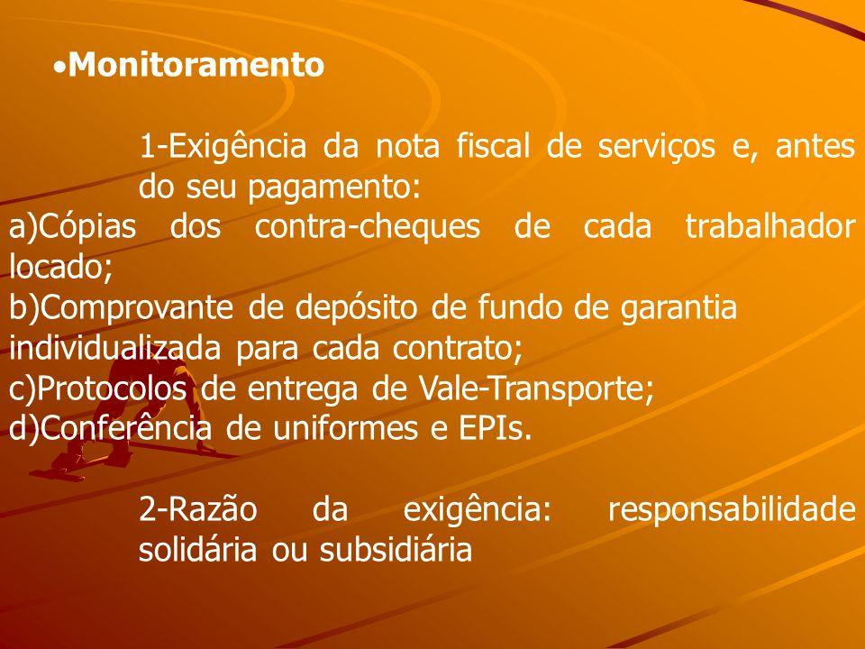 Monitoramento 1-Exigência da nota fiscal de serviços e, antes do seu pagamento: a)Cópias dos contra-cheques de cada trabalhador locado; b)Comprovante