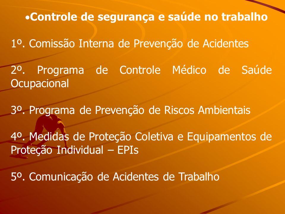 Controle de segurança e saúde no trabalho 1º. Comissão Interna de Prevenção de Acidentes 2º. Programa de Controle Médico de Saúde Ocupacional 3º. Prog