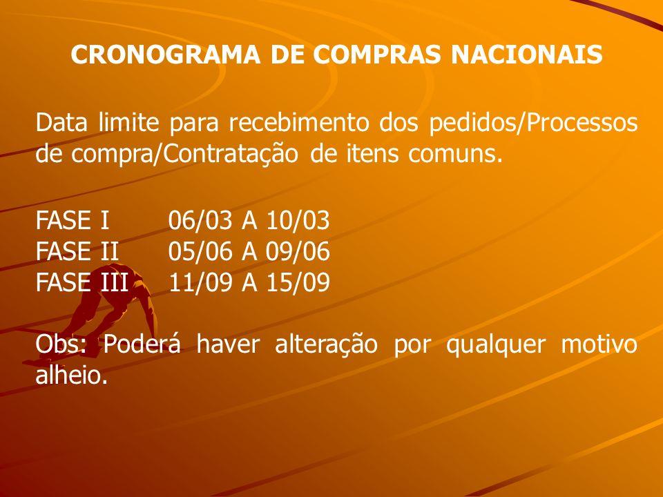 CRONOGRAMA DE COMPRAS NACIONAIS Data limite para recebimento dos pedidos/Processos de compra/Contratação de itens comuns. FASE I06/03 A 10/03 FASE II0