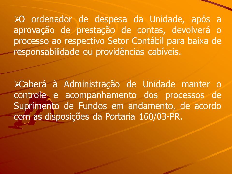 O ordenador de despesa da Unidade, após a aprovação de prestação de contas, devolverá o processo ao respectivo Setor Contábil para baixa de responsabi