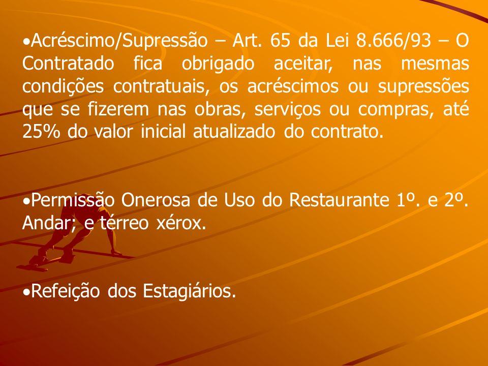 Acréscimo/Supressão – Art. 65 da Lei 8.666/93 – O Contratado fica obrigado aceitar, nas mesmas condições contratuais, os acréscimos ou supressões que