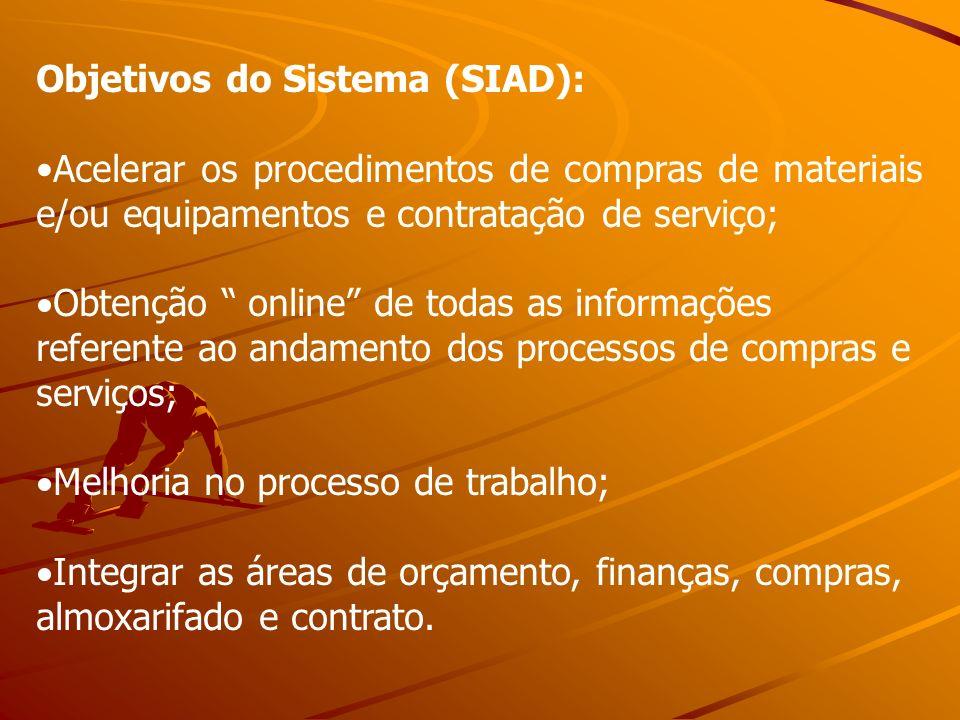 Objetivos do Sistema (SIAD): Acelerar os procedimentos de compras de materiais e/ou equipamentos e contratação de serviço; Obtenção online de todas as