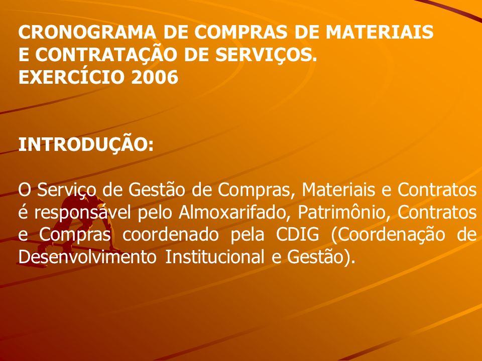 CRONOGRAMA DE COMPRAS DE MATERIAIS E CONTRATAÇÃO DE SERVIÇOS. EXERCÍCIO 2006 INTRODUÇÃO: O Serviço de Gestão de Compras, Materiais e Contratos é respo