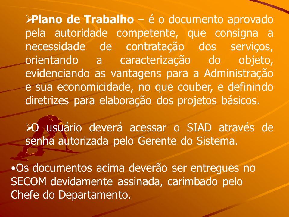 Plano de Trabalho – é o documento aprovado pela autoridade competente, que consigna a necessidade de contratação dos serviços, orientando a caracteriz