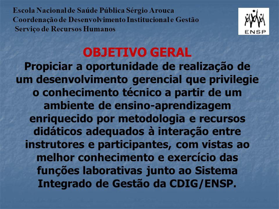 Escola Nacional de Saúde Pública Sérgio Arouca Coordenação de Desenvolvimento Institucional e Gestão Serviço de Recursos Humanos