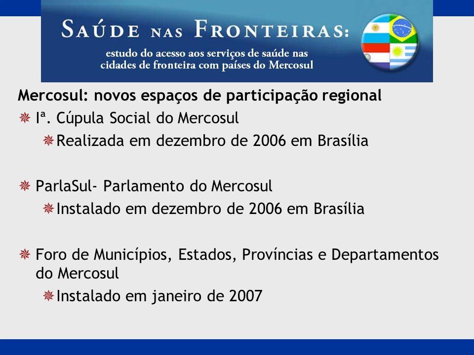 Mercosul: novos espaços de participação regional Iª. Cúpula Social do Mercosul Realizada em dezembro de 2006 em Brasília ParlaSul- Parlamento do Merco