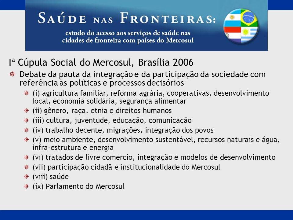 Iª Cúpula Social do Mercosul, Brasília 2006 Debate da pauta da integração e da participação da sociedade com referência às políticas e processos decis