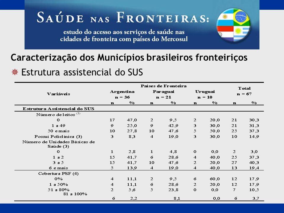 Caracterização dos Municípios brasileiros fronteiriços Estrutura assistencial do SUS