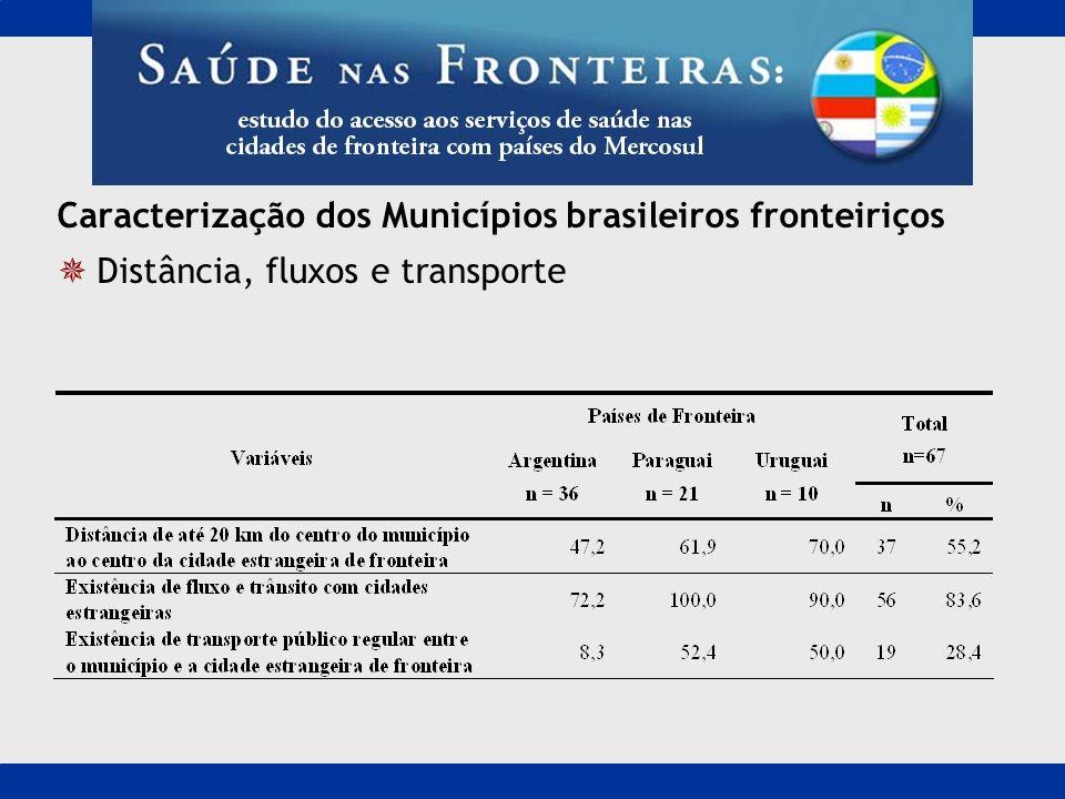 Caracterização dos Municípios brasileiros fronteiriços Distância, fluxos e transporte